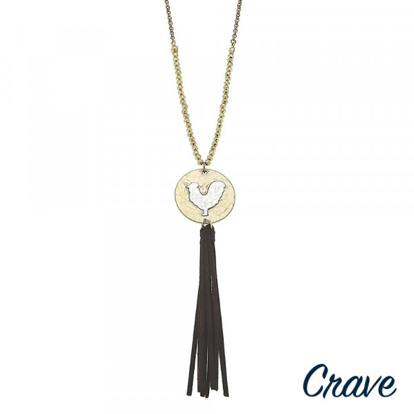 "Long metal necklace with hen pendant and tassel. Approximate 30"" in length.  Don't forget to grab the matching earrings."