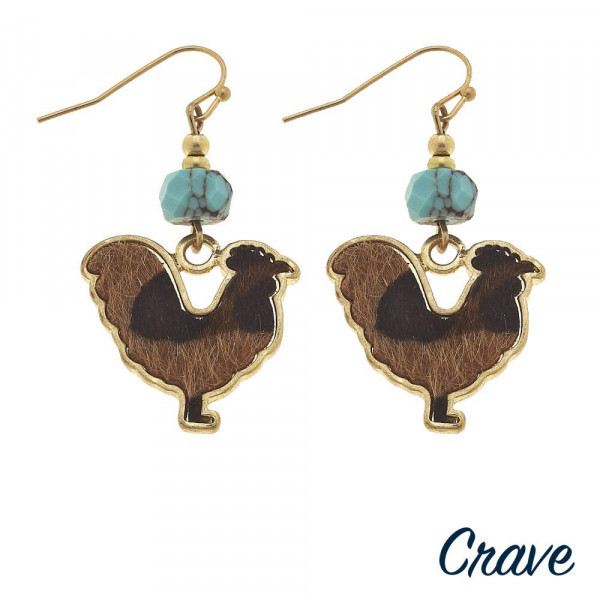 """Short metal earring with hen details. Approximate 1"""" in length."""