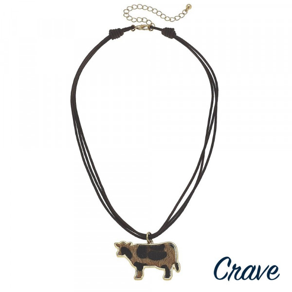 """Long leather layered necklace with cow pendant. Approximate 16"""" in length."""