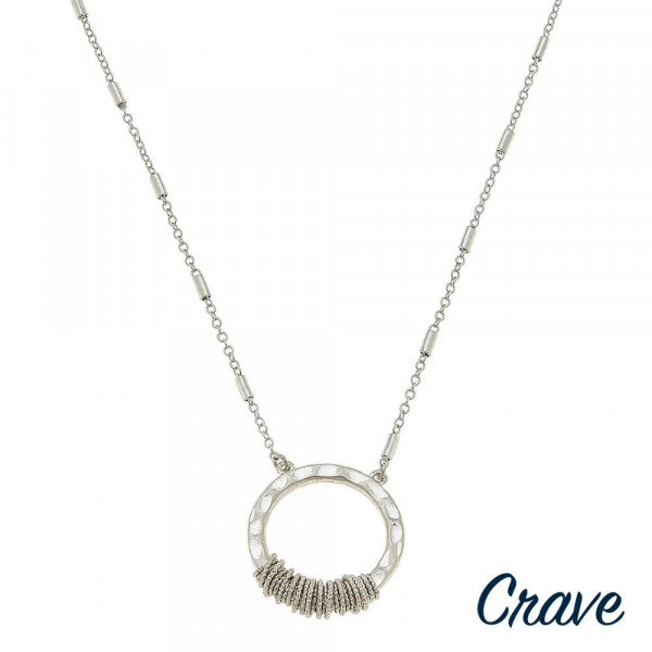 "Long crave metal necklace with hoop pendant. Approximate 22"" in length ."
