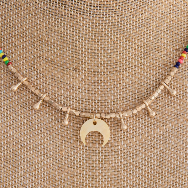 """Multicolor beaded necklace featuring crescent and gold accents. Approximately 16"""" in length."""