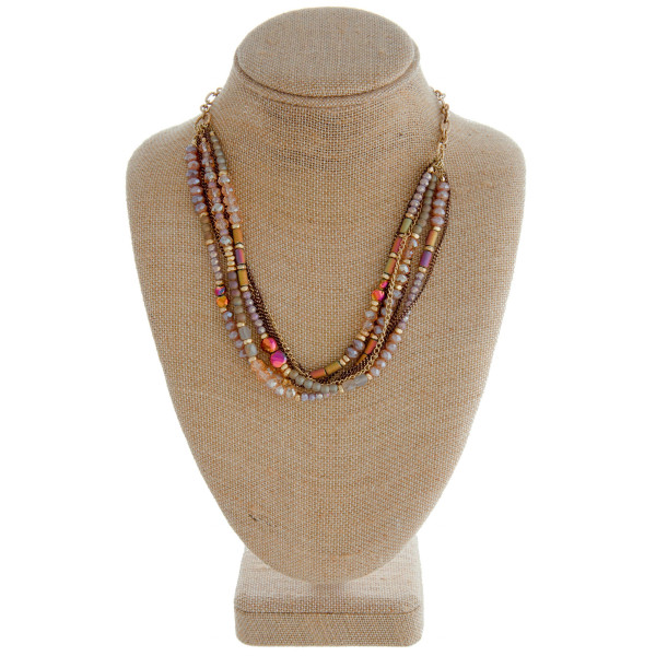 """Cable chain necklace featuring a multi strand beaded feature with iridescent bead details. Approximately 18"""" in length."""