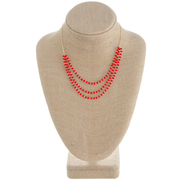 """Long layered metal necklace with beads. Approximate 16"""" in length."""