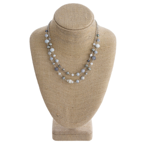 """Long metal necklace with beads and rhinestones. Approximate 16"""" in length."""