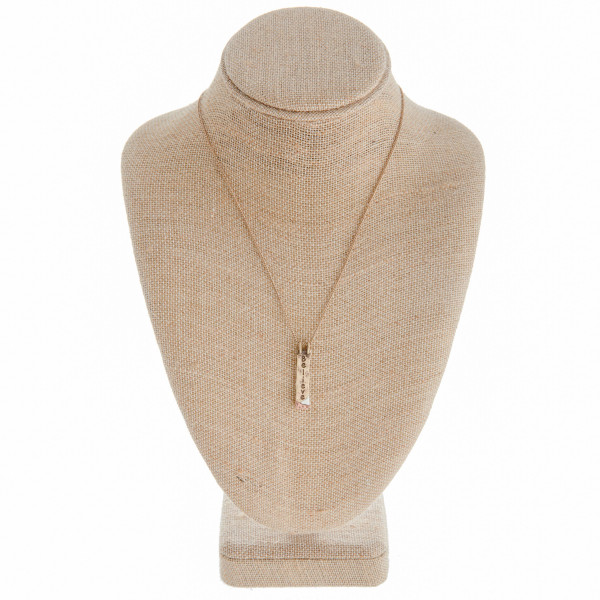 """Long metal necklace with engraved inspirational message """"Believe"""". Approximate 18"""" in length.  """""""