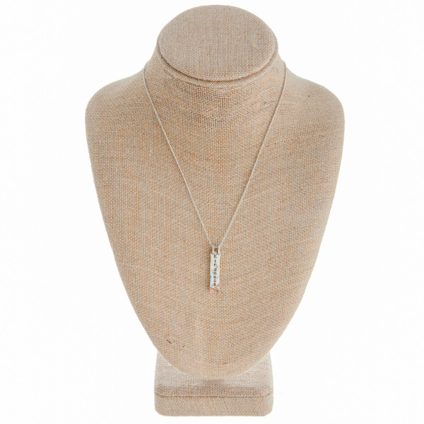 """Long metal necklace with engraved inspirational message """"kindness"""". Approximate 18"""" in length."""