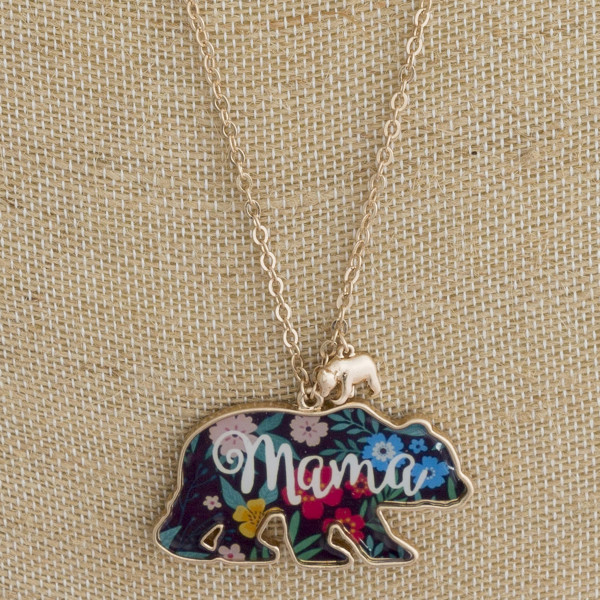 """Long metal necklace with mama bear pendant. Approximate 28"""" in length."""