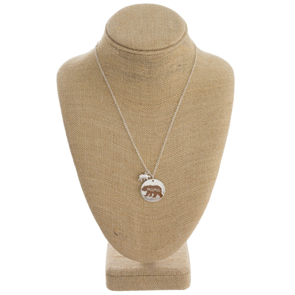 """Long metal necklace with mama bear pendant. Approximate 20"""" in length."""