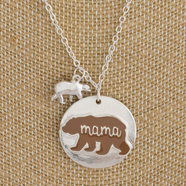 "Long metal necklace with mama bear pendant. Approximate 20"" in length."