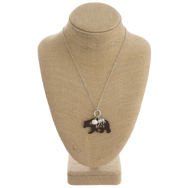 """Long metal necklace with mama bear pendant. Approximate 18"""" in length."""