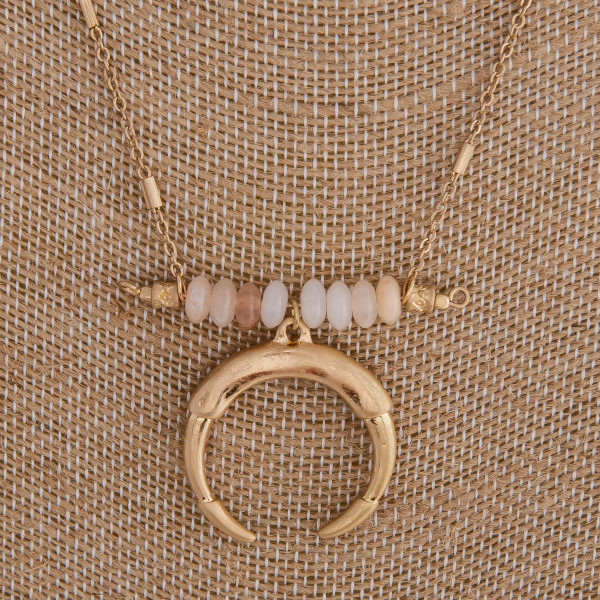 """Link bar chain necklace featuring a natural stone beaded bar accent and a crescent pendant. Pendant is approximately 1"""" in diameter. Approximately 18"""" in length overall."""