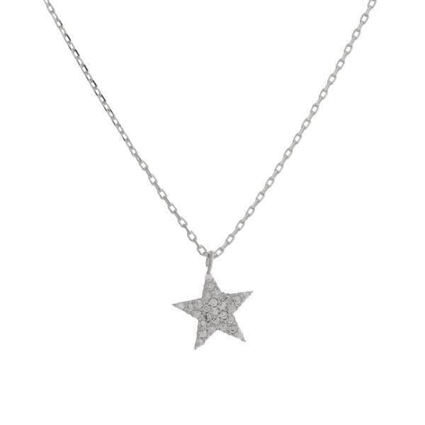 """Long metal dainty necklace with star pendant with rhinestones. Approximate 18"""" in length."""