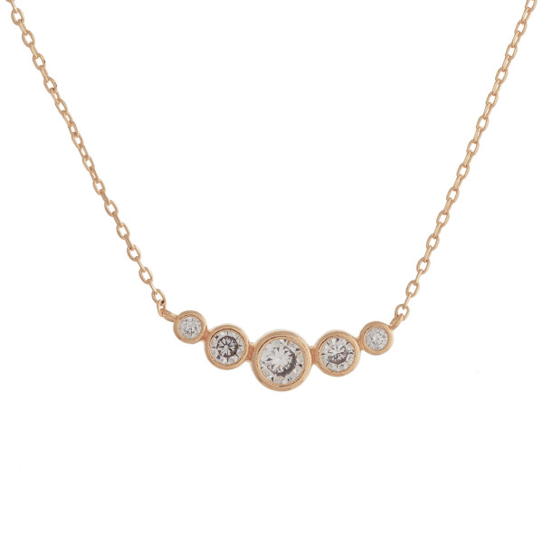 """Long metal dainty necklace with pendant with rhinestones. Approximate 18"""" in length."""