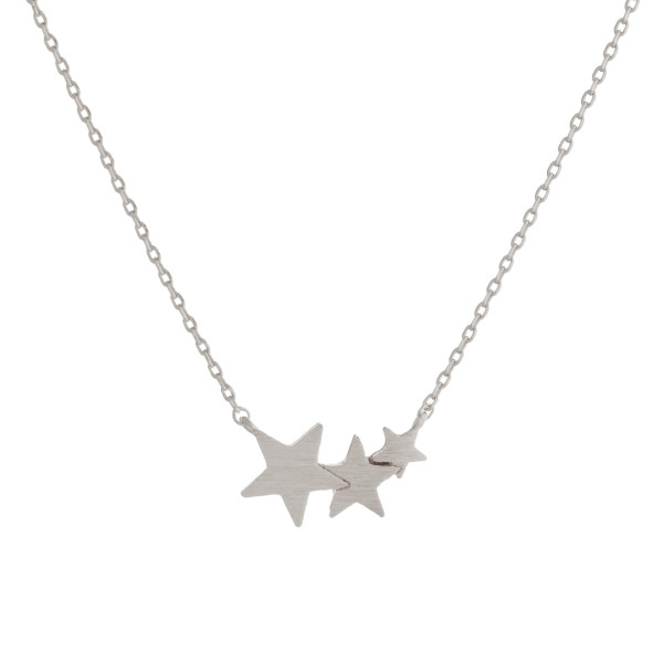 "Long metal dainty necklace with star pendant. Approximate 17"" in length."