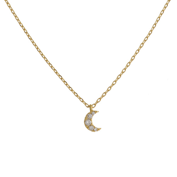 """Long metal necklace with  rhinestone moon pendant. Approximate 17.5"""" in length."""