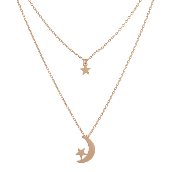"""Long layered metal dainty necklace with moon and star pendant. Approximate 17.5"""" in length."""