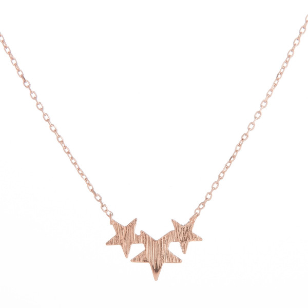 "Long metal dainty necklace with a three-star pendant. Approximate 18"" in length."