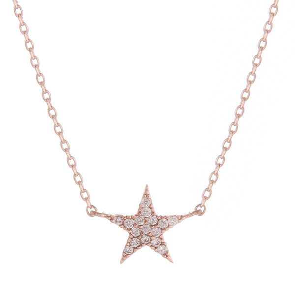 "Short metal collarbone necklace with star pendant and rhinestones. Approximate 15"" in length."