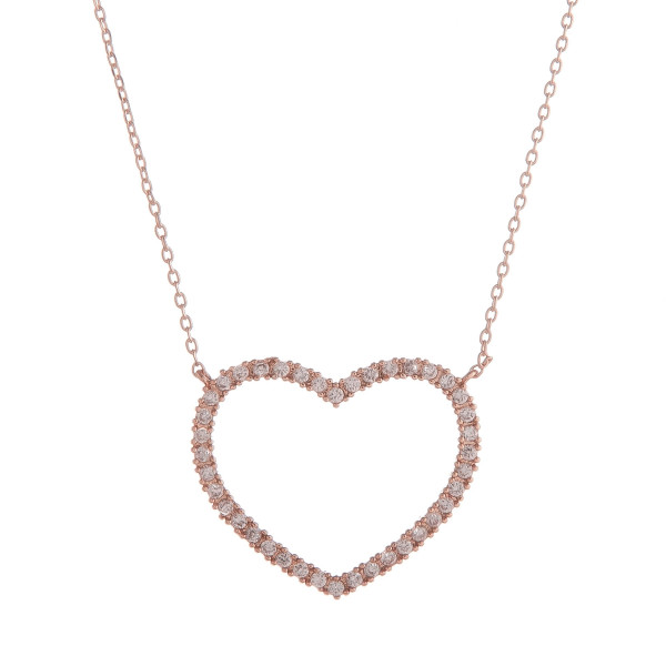 """Long layered necklace with heart and rhinestone pendant. Approximate 17.5"""" in length."""