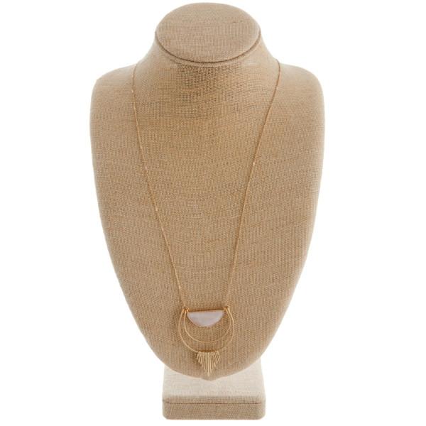 Wholesale long metal necklace pink natural stone pendant gold tassel accents Pen