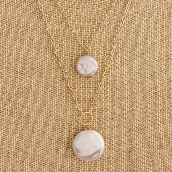 """Long layered cable/link chain necklace featuring two faux pearl accents. Approximately 18"""" in length."""