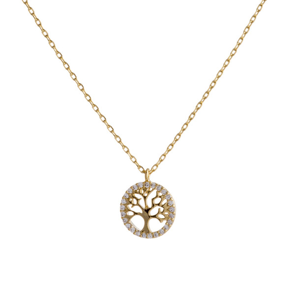 "Dainty gold chain necklace featuring a tree of life pendant with cubic zirconia accents. Approximately 18"" in length. Pendant is approximately .5"" in diameter."