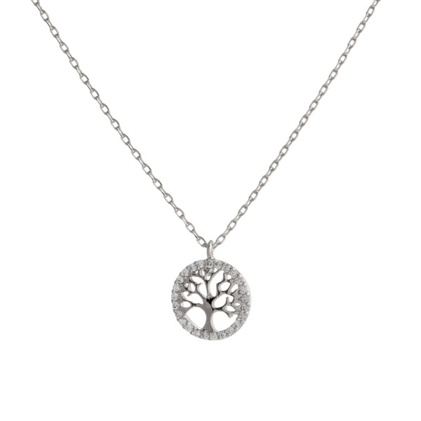 "Dainty silver chain necklace featuring a tree of life pendant with cubic zirconia accents. Approximately 18"" in length. Pendant is approximately .5"" in diameter."