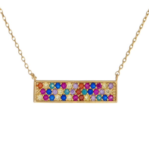 """Dainty metal necklace featuring a bar pendant with multicolor cubic zirconia details. Pendant approximately .75"""" wide. Approximately 18"""" in length overall."""