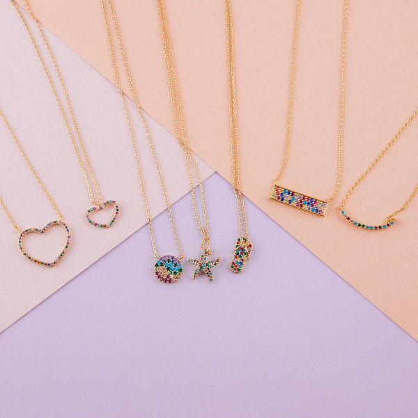 """Dainty metal necklace featuring a disc pendant with multicolor cubic zirconia details. Pendant approximately .5"""". Approximately 18"""" in length overall."""
