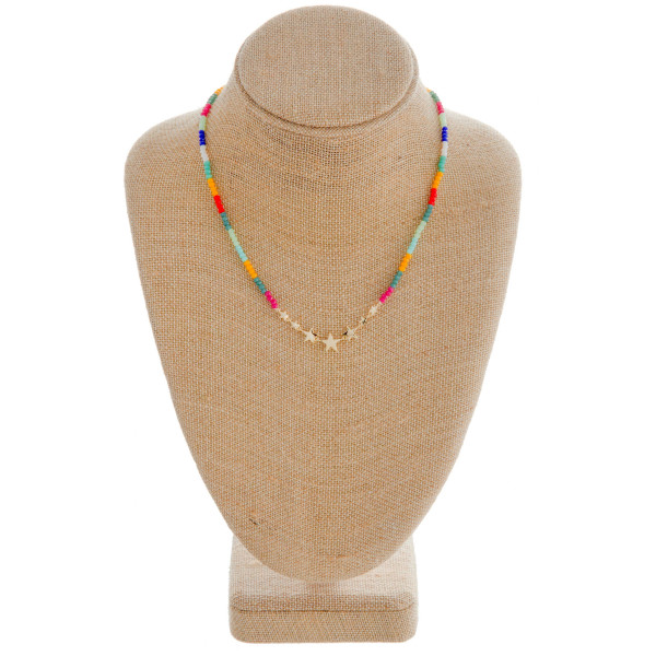 Wholesale iridescent beaded necklace gold star center accents