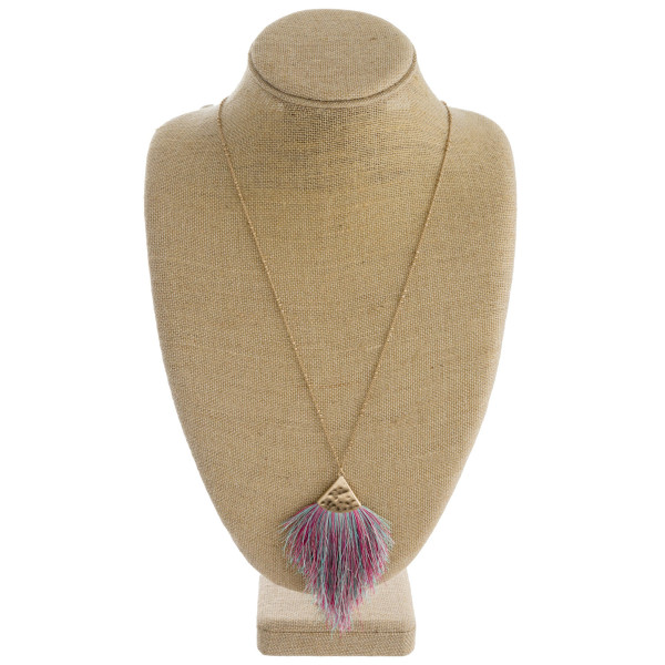 """Long satellite chain necklace featuring a tassel pendant. Pendant approximately 4"""". Approximately 38"""" in length overall."""