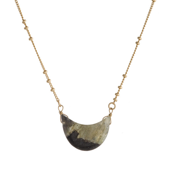 "Dainty satellite chain necklace featuring a natural stone inspired pendant. Pendant approximately 1"" wide. Approximately 18"" in length overall."