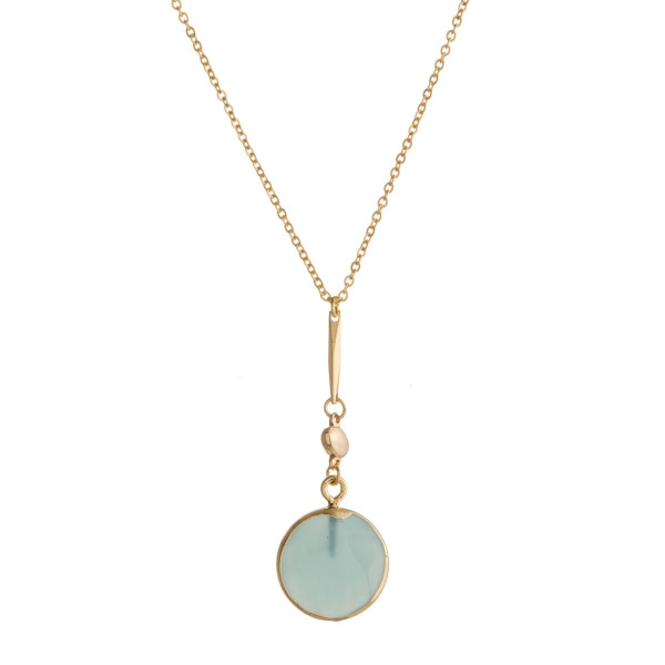 "Dainty cable chain necklace featuring a natural stone disc pendant. Pendant approximately .5"". Approximately 18"" in length overall."