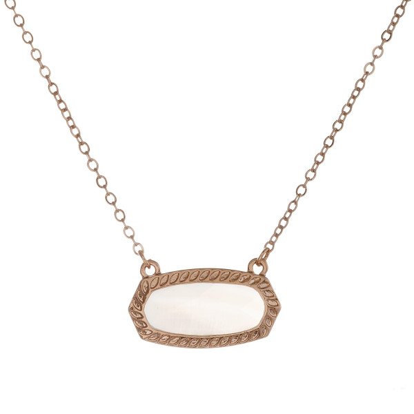 """Dainty cable chain necklace featuring a natural stone inspired bar pendant. Pendant approximately 1"""" wide. Approximately 16"""" in length overall."""