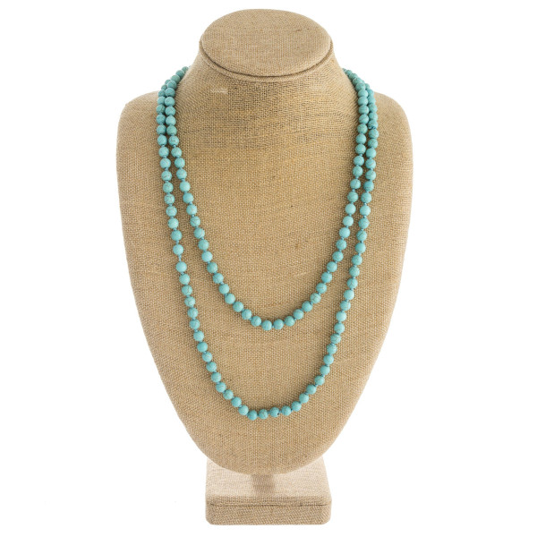 """Long layered natural stone inspired beaded necklace. Approximately 34"""" in length."""
