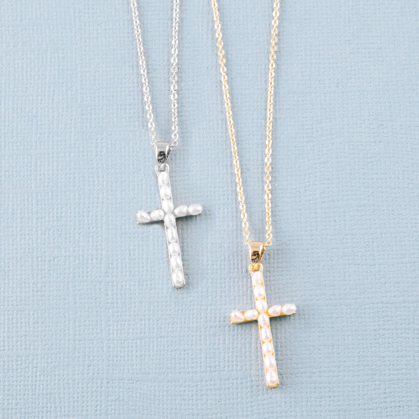"""Dainty cable chain necklace featuring a pearl beaded cross pendant. Pendant approximately 1"""". Approximately 16"""" in length overall."""