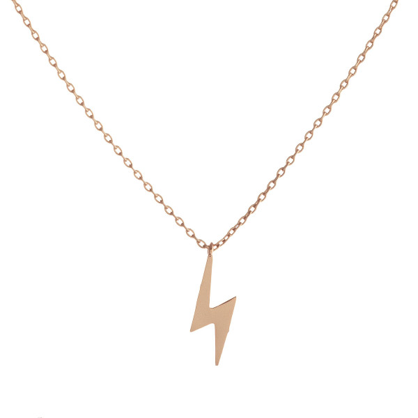 """Dainty cable chain necklace featuring a lightening bolt pendant. Pendant approximately 1.5 cm. Approximately 16"""" in length overall."""