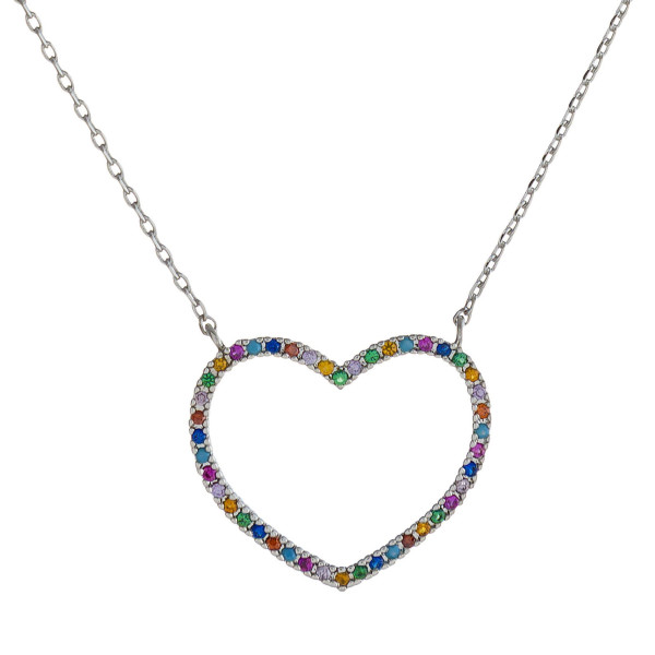 "Dainty cable chain necklace featuring a heart pendant with multicolor cubic zirconia details. Pendant approximately 1"". Approximately 18"" in length overall."