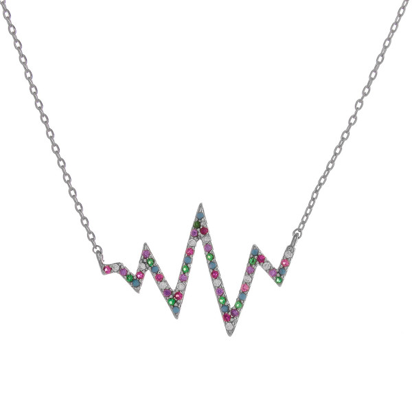 "Dainty cable chain necklace featuring a ekg inspired pendant with multicolor cubic zirconia details. Pendant approximately 1"". Approximately 18"" in length overall."