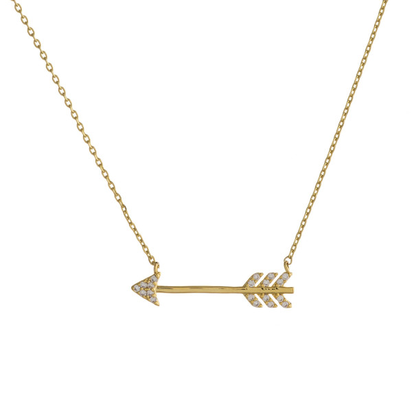 """Dainty cable chain necklace featuring a arrow pendant with cubic zirconia details. Pendant approximately 1"""". Approximately 18"""" in length overall."""