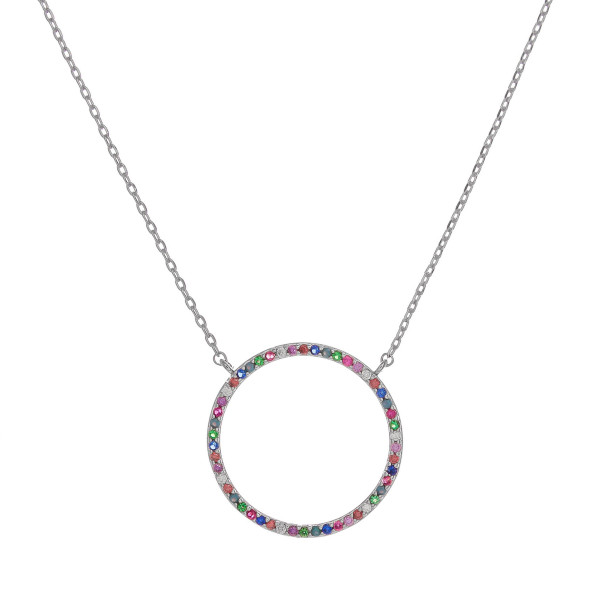 "Dainty cable chain necklace featuring a circular pendant with multicolor cubic zirconia details. Pendant approximately 1"". Approximately 18"" in length overall."