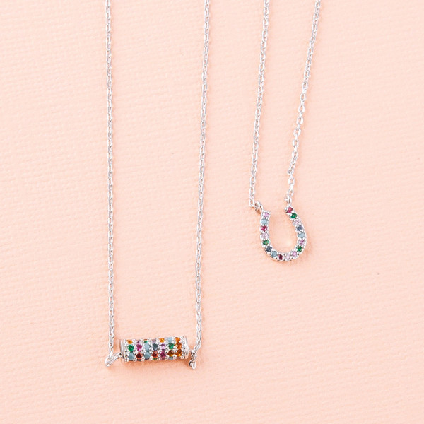 "Dainty cable chain necklace featuring a bar accent with multicolor cubic zirconia details. Approximately 18"" in length."
