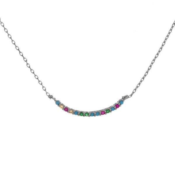"Dainty cable chain necklace featuring a bar pendant with multicolor cubic zirconia details. Pendant approximately 1"" wide. Approximately 18"" in length overall."