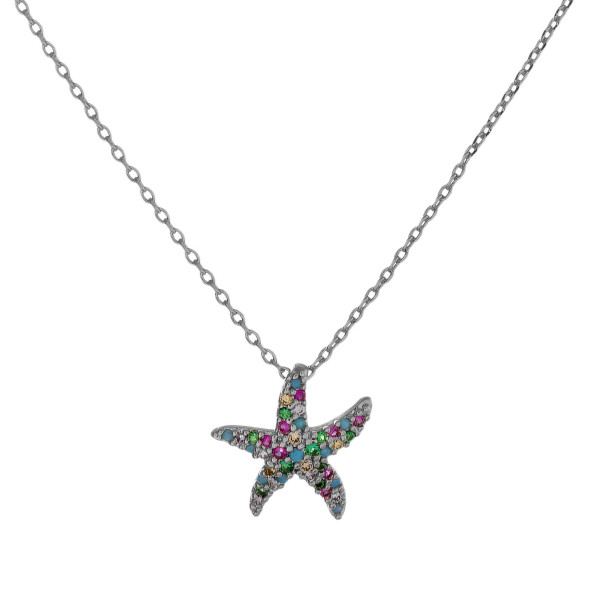 "Dainty cable chain necklace featuring a starfish pendant with multicolor cubic zirconia details. Pendant approximately .5"". Approximately 18"" in length overall."