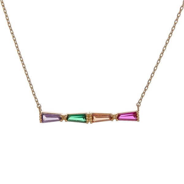 "Dainty cable chain necklace featuring a multicolor cubic zirconia bar pendant. Pendant approximately 1"". Approximately 18"" in length overall."