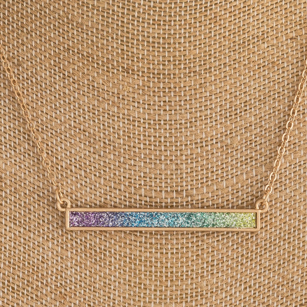"Cable chain necklace featuring a bar pendant with multicolor glitter details. Pendant approximately 2"". Approximately 16"" in length."