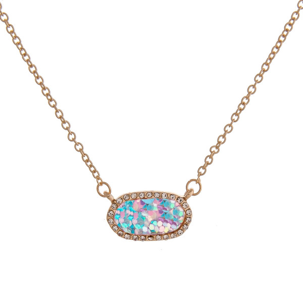 "Dainty cable chain necklace featuring a bar pendant with glitter details and cubic zirconia accents. Pendant approximately .75"". Approximately 16"" in length overall."