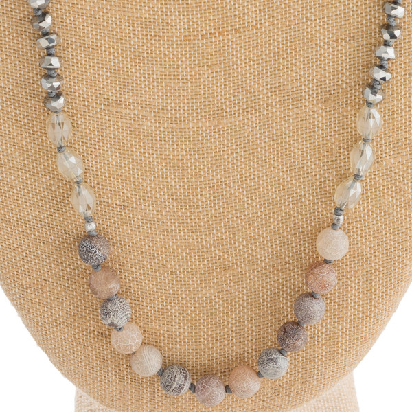 """Natural stone beaded necklace with faceted bead details. Approximately 32"""" in length."""