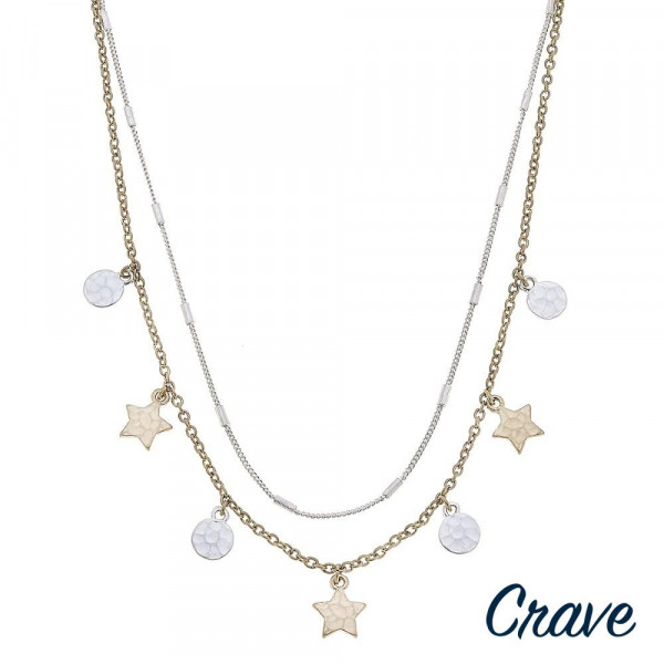 "Link bar and cable chain layered necklace featuring two tone star and disc accents. Approximately 18"" in length."