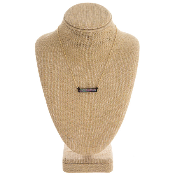 "Druzy encased bar necklace. Pendant approximately 1"" in length. Approximately 16"" in length overall."